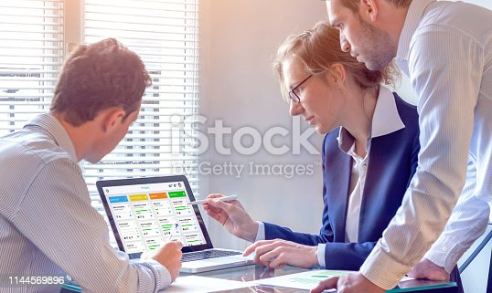 istock Daily team meeting around agile product development board with scrum or kanban framework, lean methodology, iterative or incremental organization project management strategy for software design 1144569896