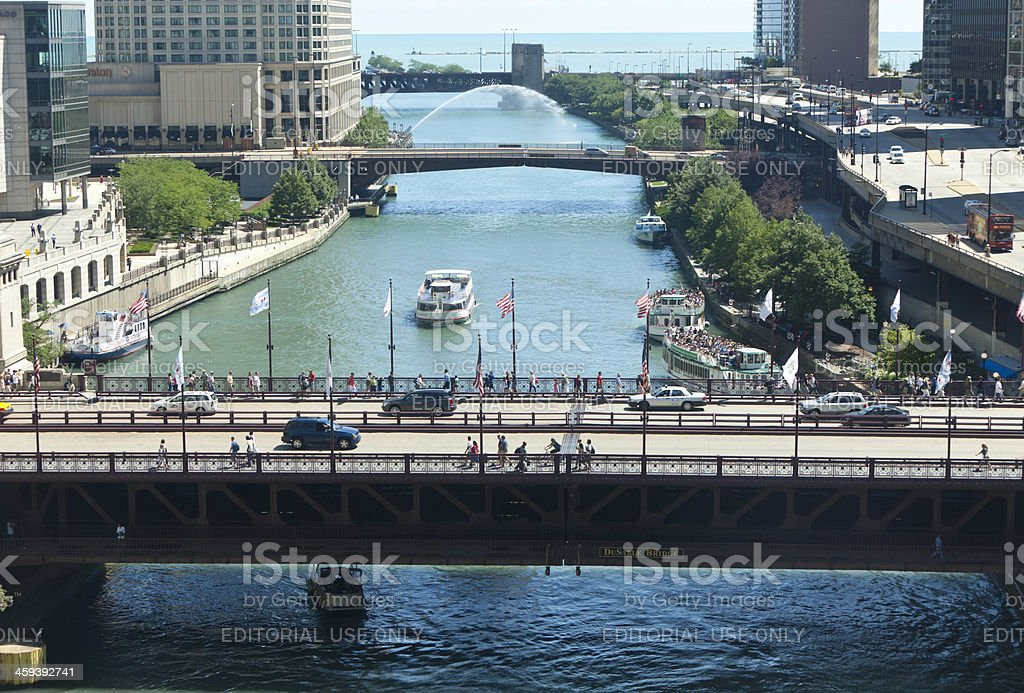 Daily Traffic on and over the Chicago River royalty-free stock photo