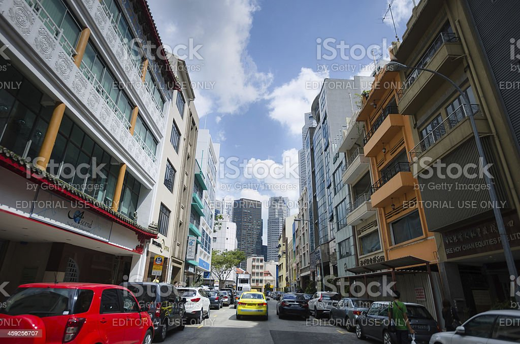 Daily traffic Street in Singapore royalty-free stock photo