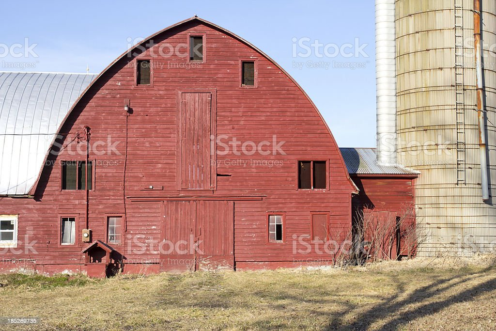 Dairy Barn Blue Sky stock photo