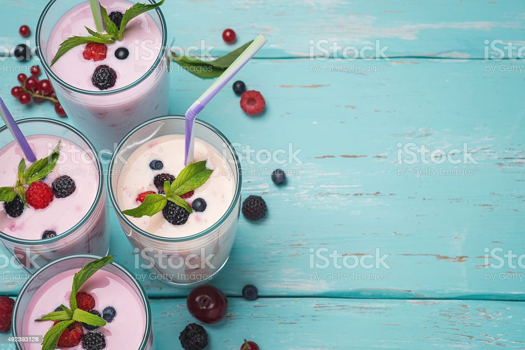 Dairy cocktail with berries. Space for text stock photo
