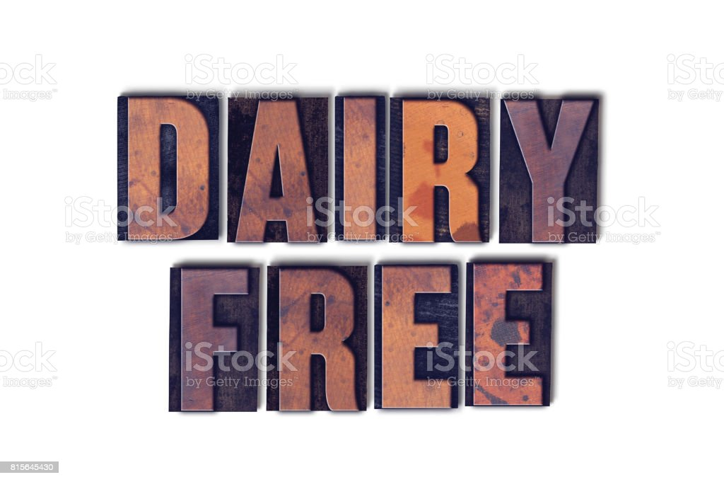 Dairy Free Concept Isolated Letterpress Word stock photo