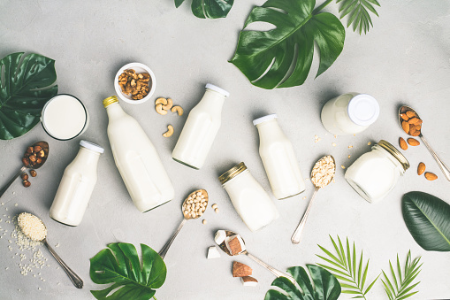 Dairy free milk substitute drinks and ingredients on grey concrete background, flat lay. Vegan, vegetarian, clean eating concept
