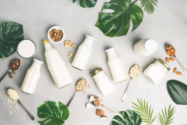 Dairy free milk substitute drinks and ingredients stock photo