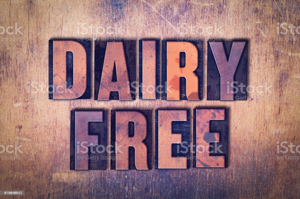 Dairy Free Theme Letterpress Word on Wood Background stock photo