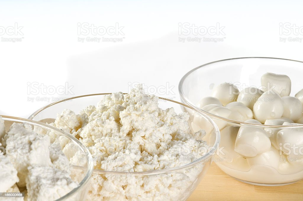 Dairy product bowls royalty-free stock photo