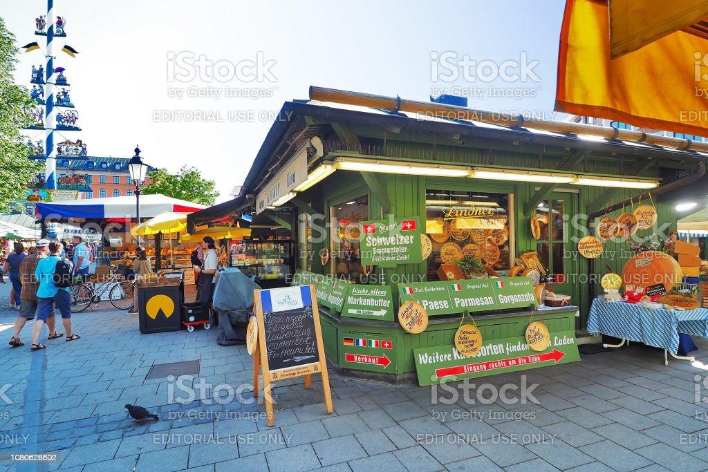 Dairy product, cheese, butter shop at Viktualien Markt open air...