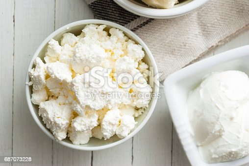 dairy products and thyme flowers on white wooden table background