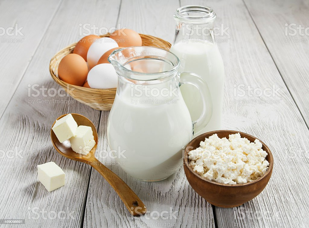 Dairy products and eggs presented stock photo