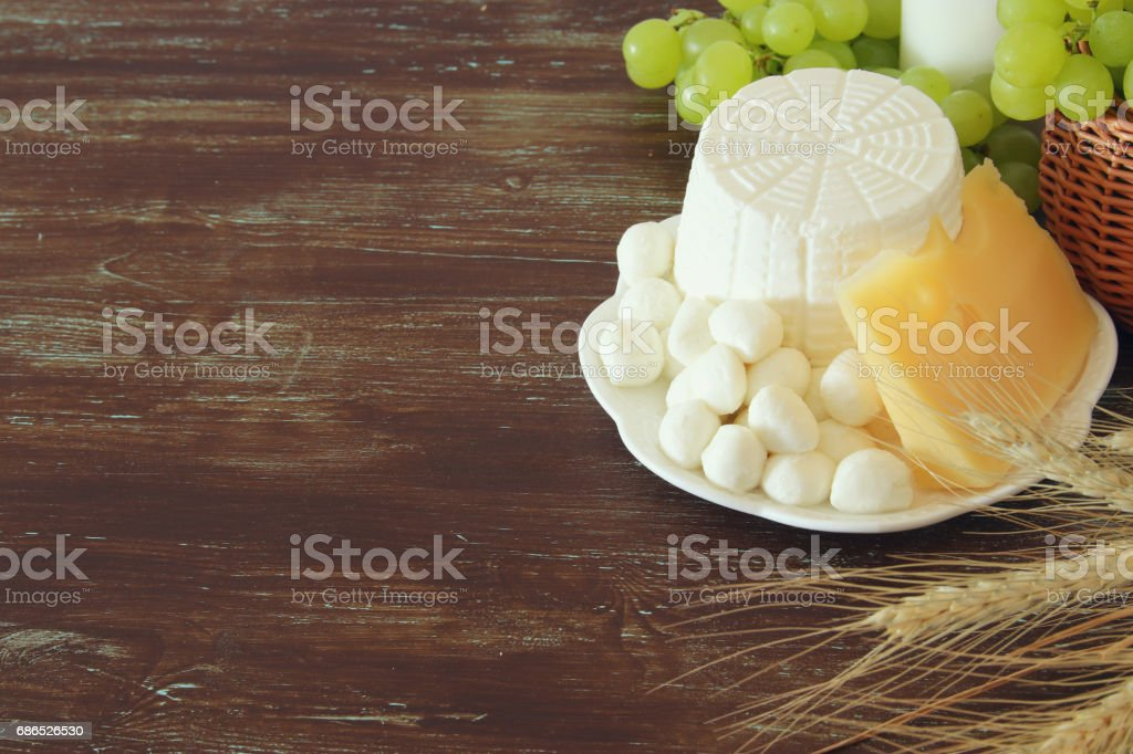 dairy products and fruits. Symbols of jewish holiday - Shavuot foto stock royalty-free