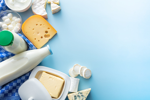 Dairy Products: Dairy Products on Blue Background with Copy Space