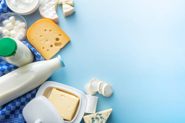 Dairy Products: Dairy Products on Blue Background with Copy Space stock photo
