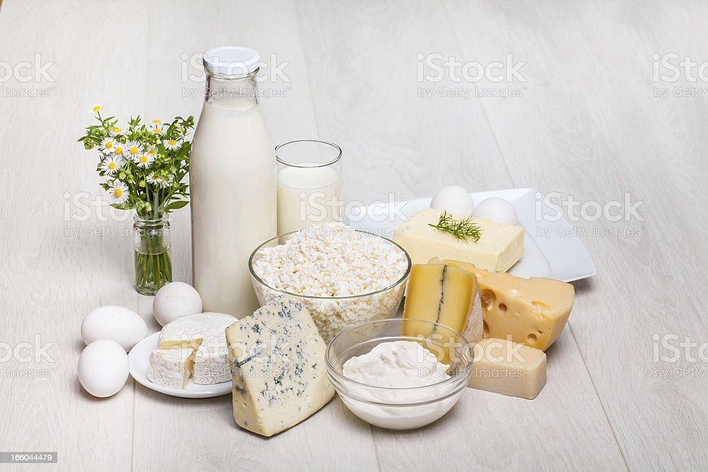 dairy products on wooden background stock photo