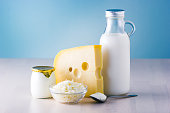 Dairy products such as milk, cheese, egg, yogurt and butter.