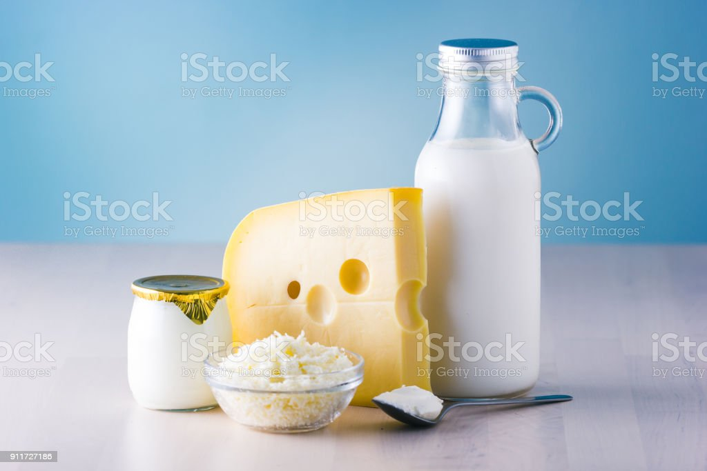Dairy products such as milk, cheese, egg, yogurt and butter. stock photo