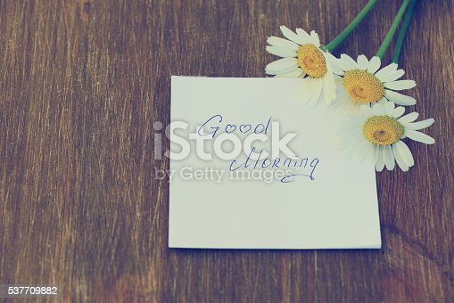 611108702 istock photo Daisy flower and piece of paper with text