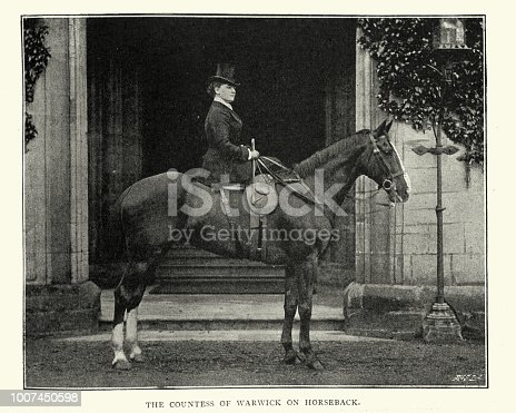 Vintage engraving of  Daisy Greville, Countess of Warwick on Horseback, 1896