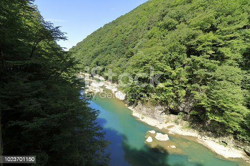 Dakigaeri gorge in Senboku, Akita, Japan
