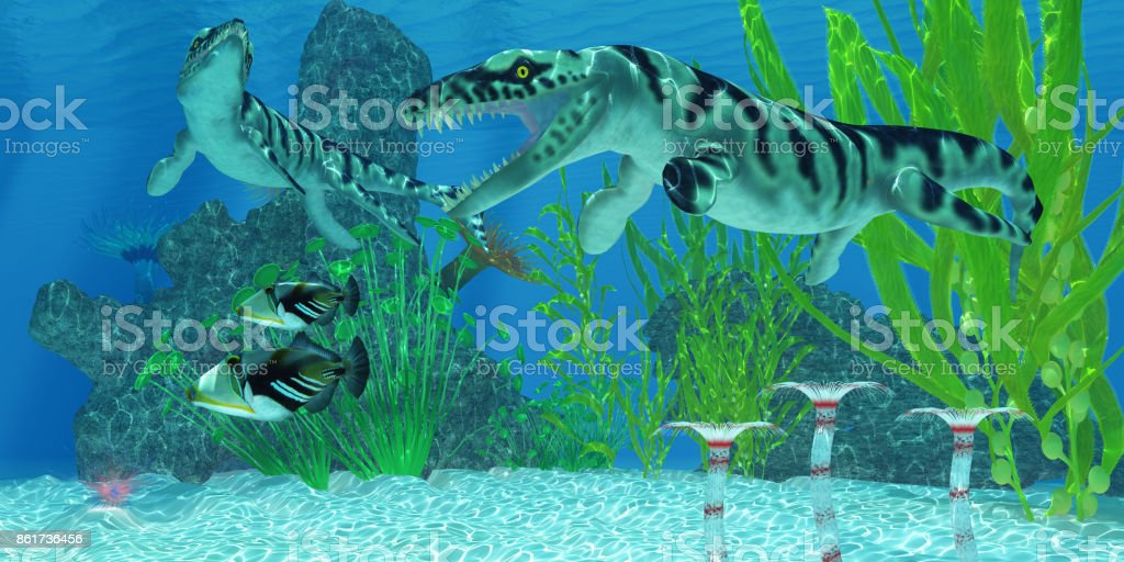 Dakosaurus Marine Habitat stock photo