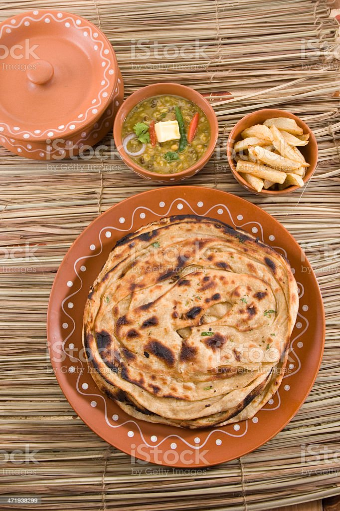 Dal And Pptato With Paratha Indian Dish Stock Photo