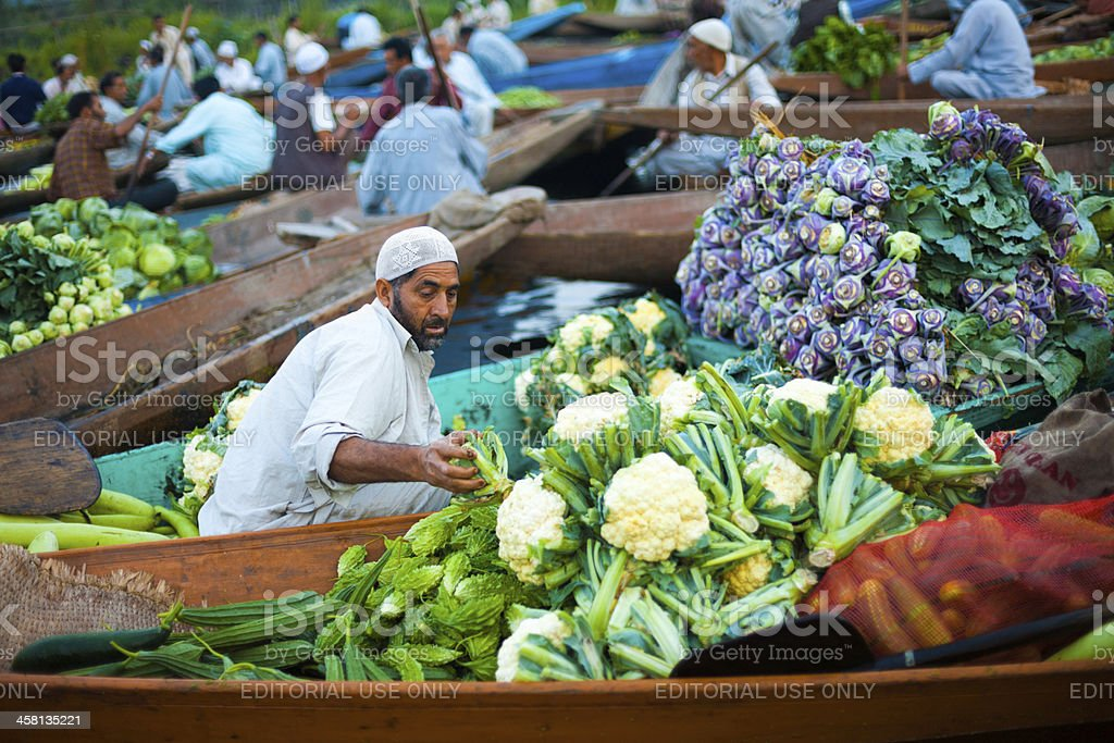 Dal Lake Floating Market Boat Full Vegetables royalty-free stock photo