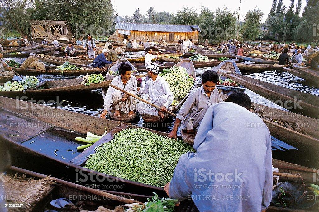 Dal Lake Morning Vegetable Market Wide stock photo