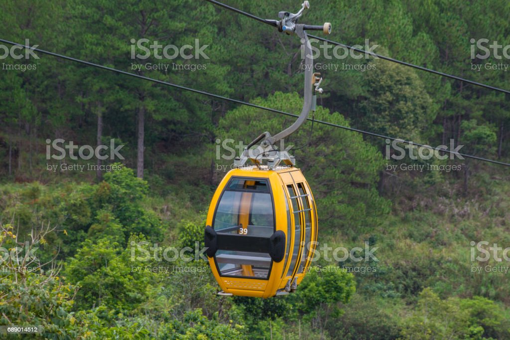 Dalat Cable Car way at Robin Hill, Vietnam stock photo