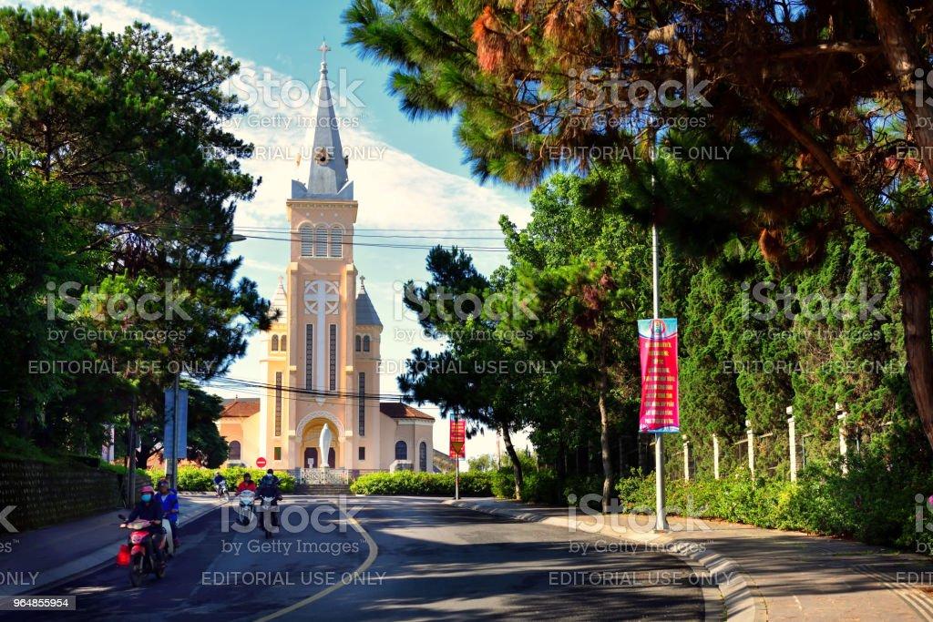 Dalat Cathedral or chicken church at Tran Phu Street royalty-free stock photo