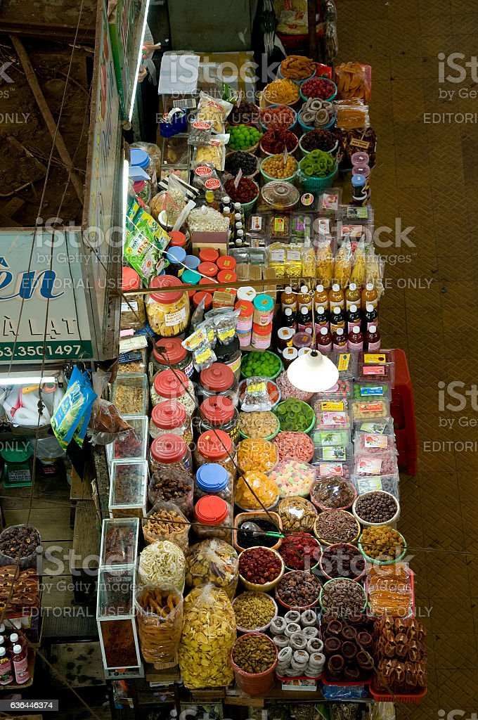 Dalat market in Dalat city in Lam Dong province, Vietnam. stock photo