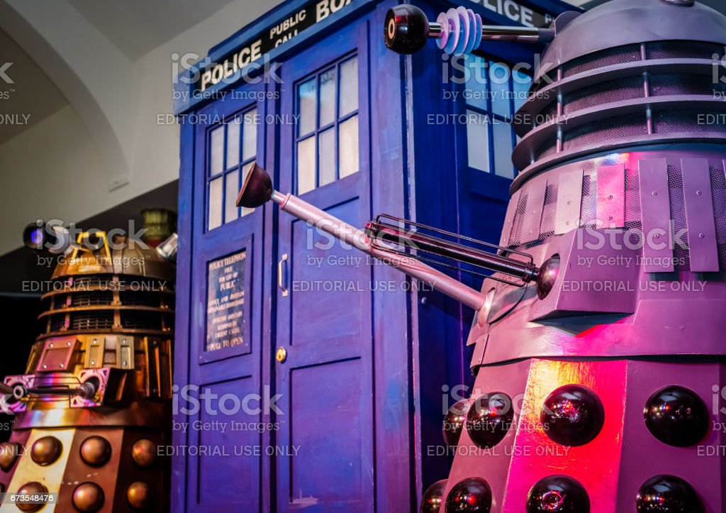 Daleks and Tardis at convention stock photo