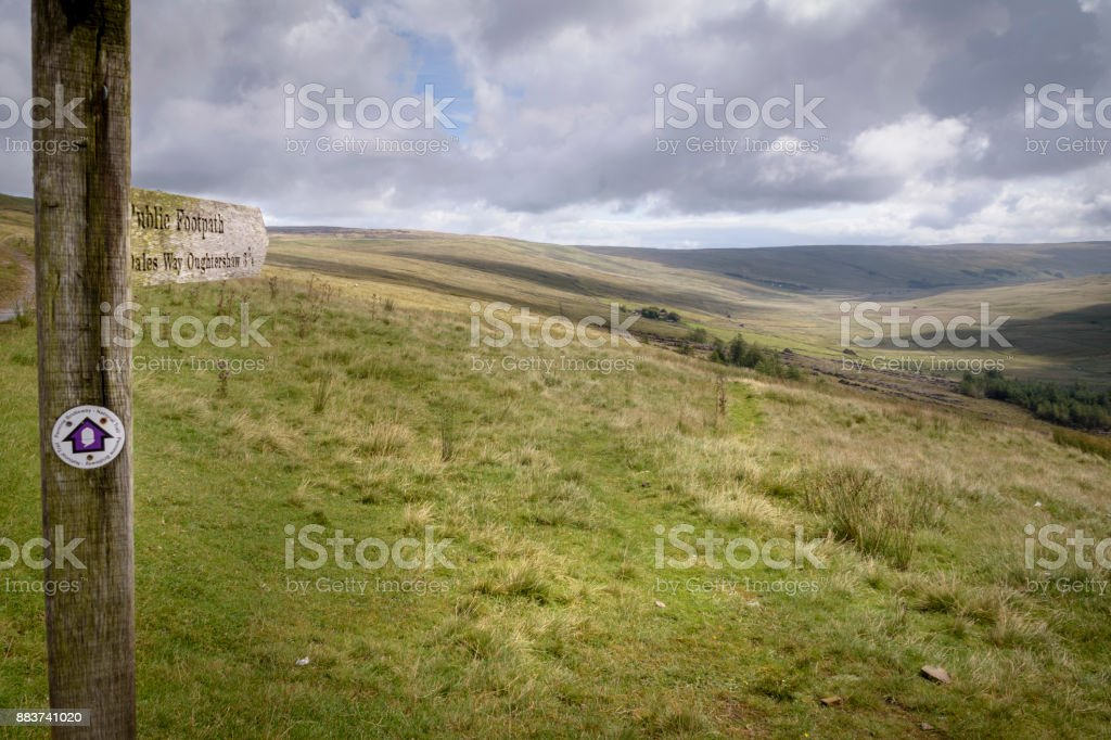 Dales Way signposting into the moorlands of England stock photo