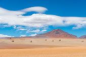 Landscape photograph of the Dali Desert in Bolivia near the Uyuni Salt Flat and the Atacama Desert of Chile, South America.