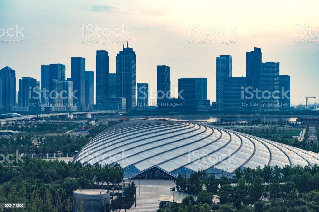 Dalian Stadt Skyline Innenstadt von oben Ansicht – Foto
