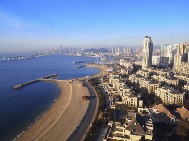 Dalian coast panorama, Liaoning stock photo