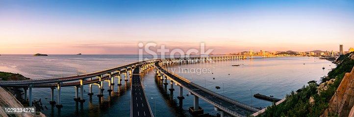 Detail shot of Dalian xinghai bay bridge,China.