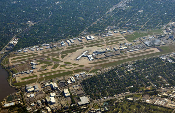 Dallas airport from high latitude stock photo