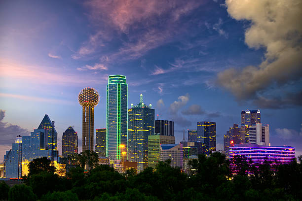 dallas at dusk - skyline stock photos and pictures