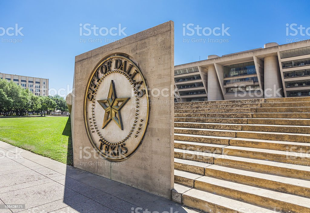 Dallas City Hall and sign stock photo