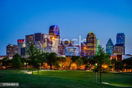 Spectacular view of Dallas City during the sunset