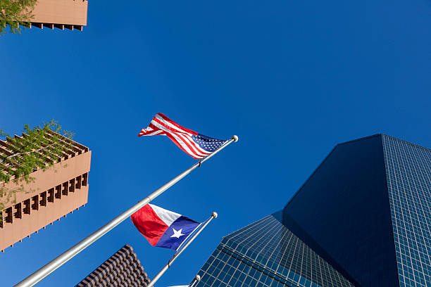 Dallas cityscape and flags stock photo