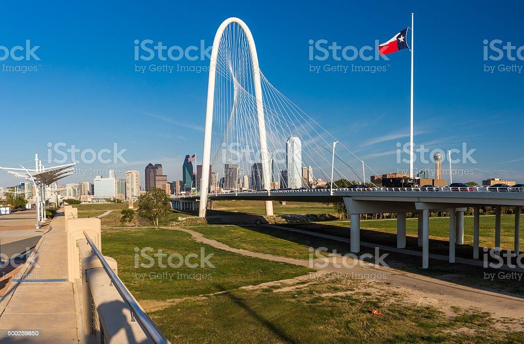 Dallas downtown skyline and Margaret hut hills bridge, Texas stock photo