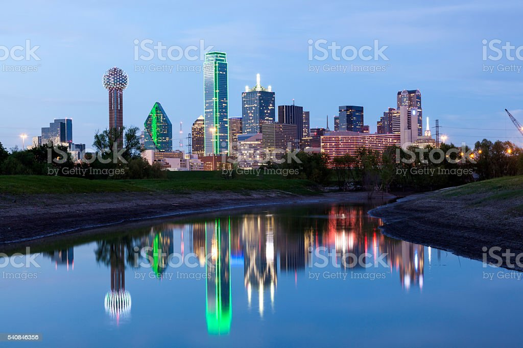 Dallas Downtown Skyline at night stock photo