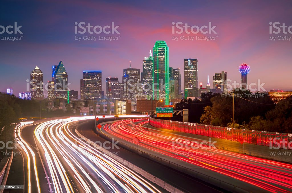 Dallas downtown skyline at twilight, Texas stock photo