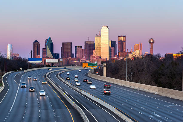 Dallas downtown skyline in the evening, Texas stock photo