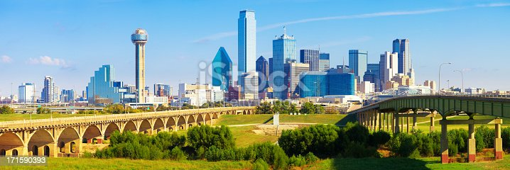 Panoramic view of the skyline of Dallas financial district during a beautiful bright blue day.