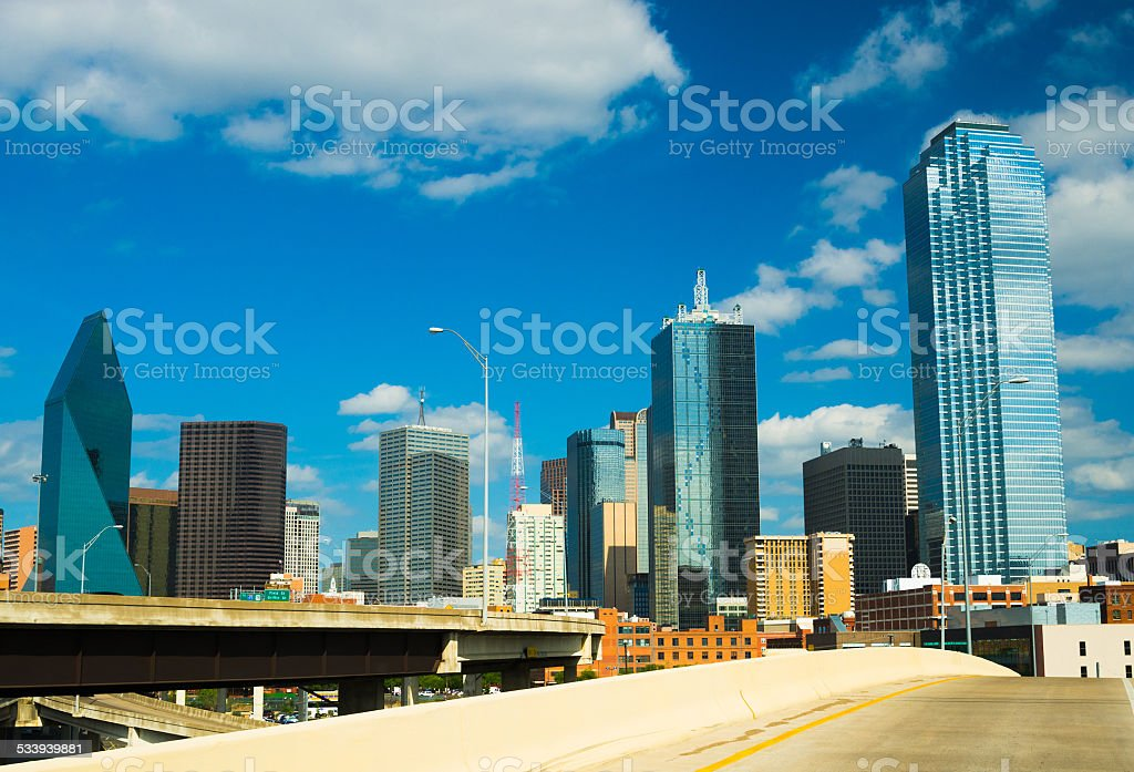 Dallas downtown skyscrapers wide angle view with cloud reflections stock photo