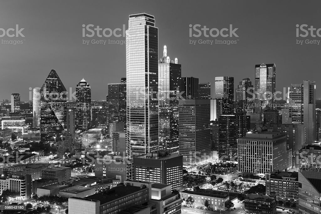 Dallas downtown view shot from reunion tower stock photo