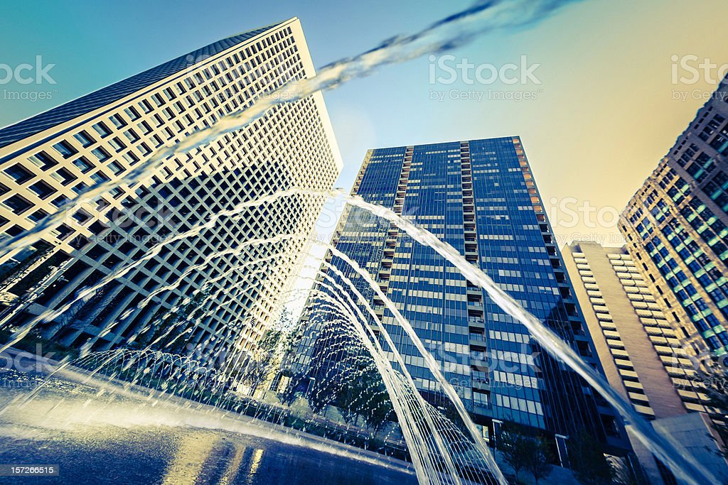 Dallas Downtown, Water games in a Fountain stock photo