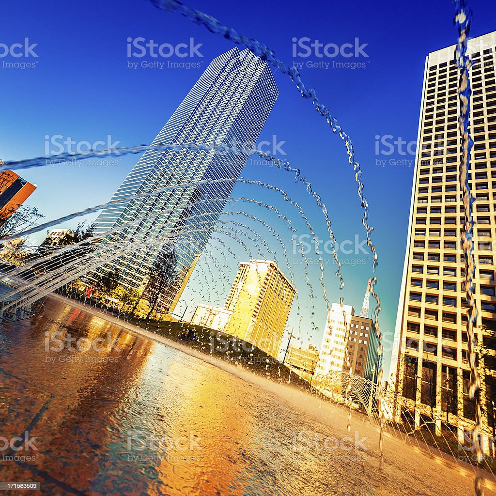 Dallas Downtown, Water games in a Fountain royalty-free stock photo