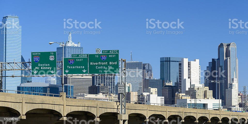 Dallas highway connected directly to city royalty-free stock photo